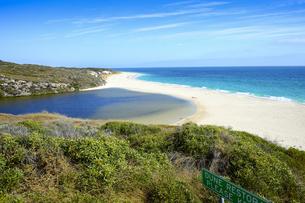 オーストラリア・西オーストラリア州にある海面の澄んだギルダートンビーチとムーア川の交わる所の光景の写真素材 [FYI04295170]