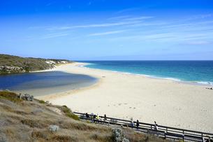 オーストラリア・西オーストラリア州にある海面の澄んだギルダートンビーチとムーア川の交わる所を散策する人々の写真素材 [FYI04295172]