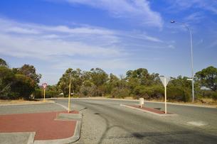 オーストラリア・西オーストラリア州の木々が並び道路標識が沢山ある交差点の光景の写真素材 [FYI04295631]