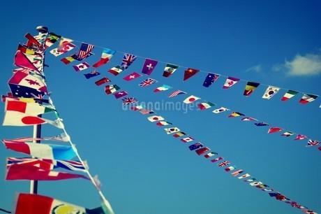 運動会と風と国旗の写真素材 [FYI04296504]