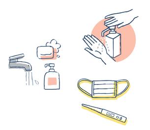 感染症予防対策 手洗いとマスクと体温計のイラスト素材 [FYI04296627]
