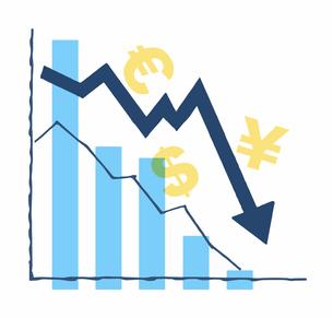 不景気イメージ 為替 株価下落グラフのイラスト素材 [FYI04296653]