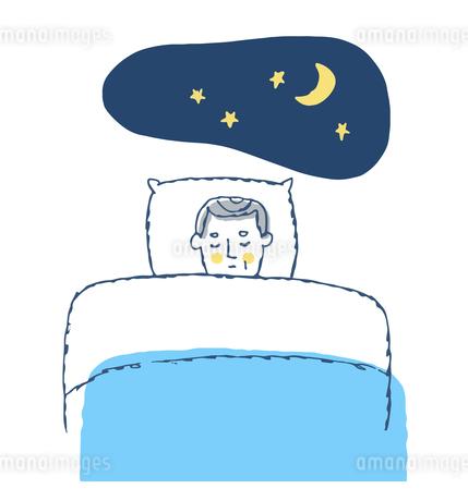 睡眠中のシニア男性のイラスト素材 [FYI04296655]