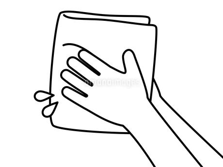 手を拭く-白黒のイラスト素材 [FYI04296801]