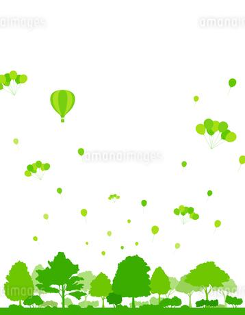 風船と緑の木々のイラスト素材 [FYI04297077]