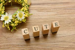 cute アルファベットスタンプをならべて単語にした素材の写真素材 [FYI04297265]