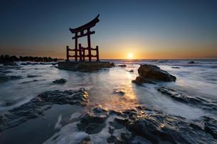 初山別村 金比羅神社 神社 鳥居 海岸の写真素材 [FYI04297273]