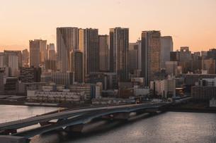 夕暮れの東京湾岸エリアの写真素材 [FYI04297278]