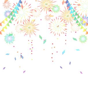 花火と三角旗と紙吹雪のイラスト素材 [FYI04297669]