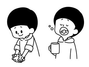 手洗い-うがい-男の子-白黒のイラスト素材 [FYI04297678]