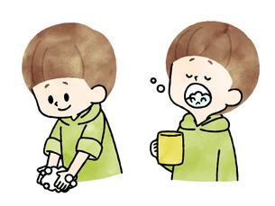 手洗い-うがい-男の子-水彩のイラスト素材 [FYI04297680]