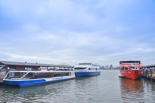オーストラリア・パースシティのエリザベス・キーの近くのスワンリバーに並ぶフェリーなどの船舶の写真素材 [FYI04297876]