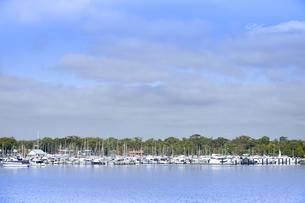 オーストラリア・西オーストラリア州のインド洋沿岸に並ぶ沢山の船と木々の光景の写真素材 [FYI04297899]
