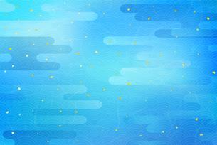 水色の和風背景と雲 伝統模様のイラスト素材 [FYI04299234]