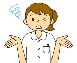 白衣姿の若い女性 お手上げのポーズ イラストのイラスト素材 [FYI04299542]