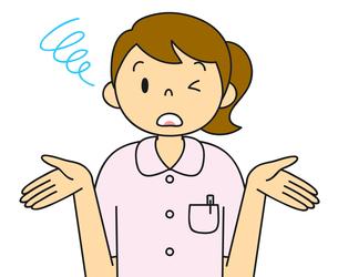 白衣姿の若い女性 お手上げのポーズ イラストのイラスト素材 [FYI04299543]