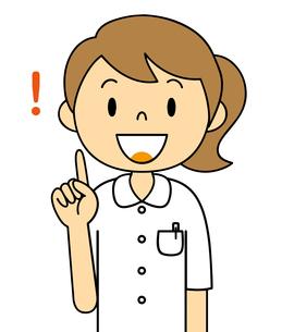 白衣姿の若い女性 指さしポーズ イラストのイラスト素材 [FYI04299552]