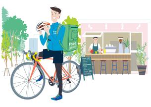 自転車でフードデリバリーをする男性配達員のイラスト素材 [FYI04299809]