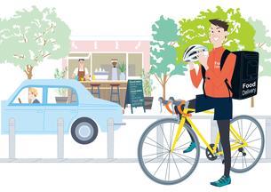 自転車でフードデリバリーをする男性配達員のイラスト素材 [FYI04299810]