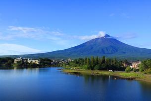 河口湖大池公園から眺める世界文化遺産の富士山の写真素材 [FYI04300242]