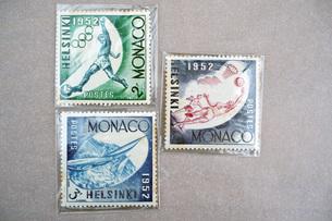 切手 ヘルシンキオリンピック フィンランド モナコ公国記念 1952年  Stamp の写真素材 [FYI04300350]