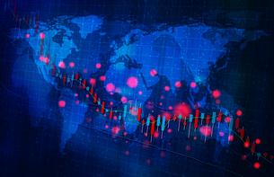 株価暴落コロナウイルスのイメージ青色ブルーのイラスト素材 [FYI04300873]