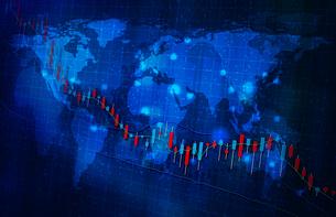 株価暴落コロナウイルスのイメージ青色ブルーのイラスト素材 [FYI04300874]
