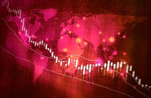株価暴落コロナウイルスのイメージ赤色レッドのイラスト素材 [FYI04300876]