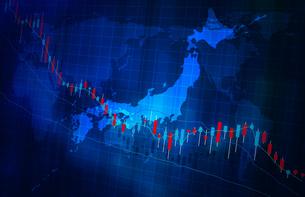 株価の下落グラフ地図イメージ青色ブルーのイラスト素材 [FYI04300878]