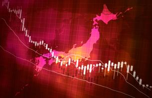 株価の下落グラフ地図イメージ赤色レッドのイラスト素材 [FYI04300881]
