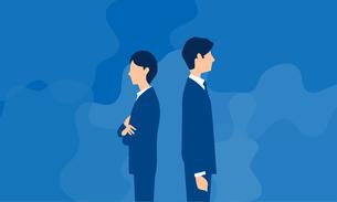 背を向ける男性と女性、ビジネスシーンのイラストのイラスト素材 [FYI04300932]