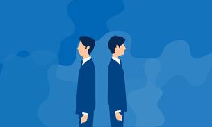 背を向ける男性二人、ビジネスシーンのイラストのイラスト素材 [FYI04300933]