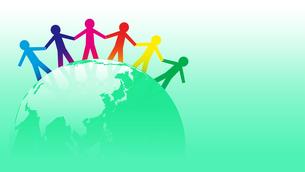 手を取り合う人々と地球のグローバルイメージのイラスト素材 [FYI04300940]