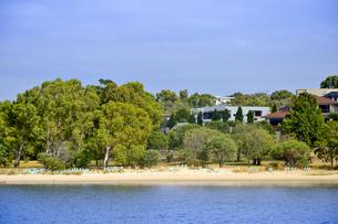オーストラリア・西オーストラリア州のインド洋の木々に囲まれた沿岸沿いの建物と苗床が並ぶ光景の写真素材 [FYI04301431]