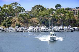 オーストラリア・西オーストラリア州のインド洋沿岸の木々に囲まれたアリーナと船と建物の写真素材 [FYI04301432]