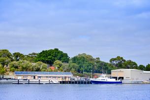 オーストラリア・西オーストラリア州のインド洋沿岸の木々に囲まれたアリーナに停泊する船と建物と自動車の写真素材 [FYI04301435]