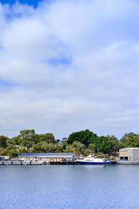 オーストラリア・西オーストラリア州のインド洋沿岸の木々に囲まれたアリーナに停泊する船と建物の写真素材 [FYI04301436]