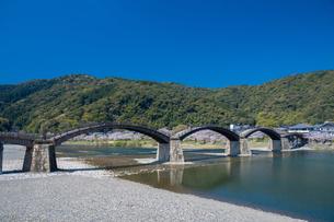 錦帯橋と桜の写真素材 [FYI04301549]