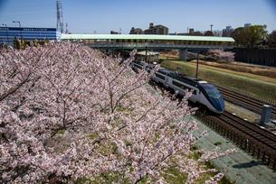 満開の桜と北総線 京成成田空港線白井駅と下りスカイライナーの写真素材 [FYI04302029]