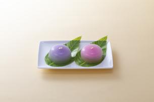 オレンジのテーブルで白いお皿に乗った和菓子の写真素材 [FYI04302077]