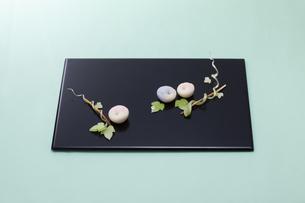 水色のテーブル上で黒いお盆に乗った和菓子の写真素材 [FYI04302113]