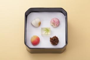 オレンジのテーブル上で黒い重箱に入った和菓子の写真素材 [FYI04302114]