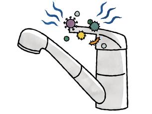 水栓レバーハンドル-菌・ウイルス-水彩のイラスト素材 [FYI04302244]