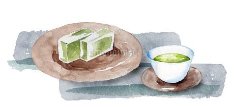 日本茶と和菓子のイラスト素材 [FYI04302264]