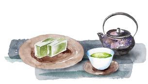 日本茶と和菓子のイラスト素材 [FYI04302265]