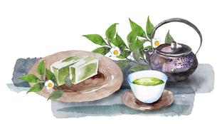 日本茶と和菓子水彩画のイラスト素材 [FYI04302268]