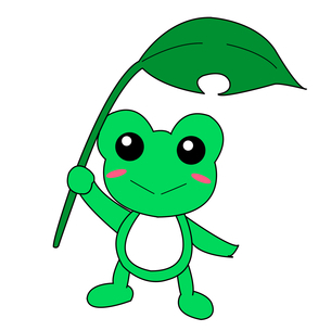 葉っぱを持ったカエルのイラスト素材 [FYI04302535]