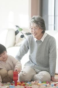 積み木で遊ぶ祖母と孫の写真素材 [FYI04302835]