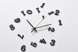 バラバラの数字と時計の針の上に乗るミニチュアのサラリーマンの写真素材 [FYI04303259]