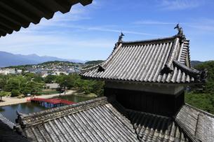 現存する日本最古の五重天守の松本城 日本100名城 大天守から乾小天守を望むの写真素材 [FYI04303484]